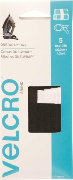 One-Wrap 91426 Adjustable Reusable General Purpose Strap, 1/2 in W x 8 in L, Velcro, Black