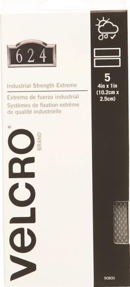 Velcro 90800 Hook and Loop Extreme Fastener Strip, 4 in L x 1 in W, Titanium