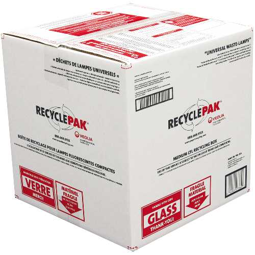 RECYCLEPAK� PREPAID MEDIUM CFL RECYCLING BOX, 15 X 15 X 15 IN.