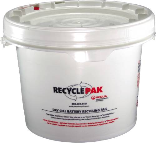 RECYCLEPAK� PREPAID DRY CELL BATTERY RECYCLING PAIL, 3.5 GALLON