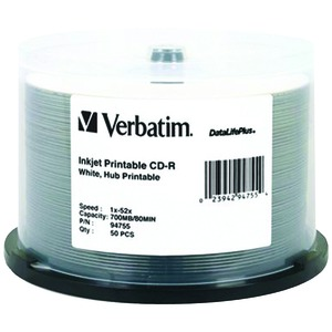 CD-R Discs, 700MB/80min, 52x, Spindle, White, 50/Pack
