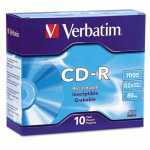 CD-R Discs, 700MB/80min, 52x, w/Slim Jewel Cases, Silver, 10/Pack