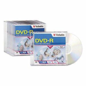DVD-R Discs, 4.7GB, 16x, w/Slim Jewel Cases, 10/Pack