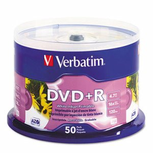 Inkjet Printable DVD+R Discs, White, 50/Pack