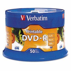 DVD-R Disc, 4.7 GB, 16x, White, 50/Pk