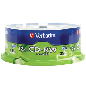 CD-RW Discs, 700MB/80min, 4X/12X, Spindle, 25/Pk