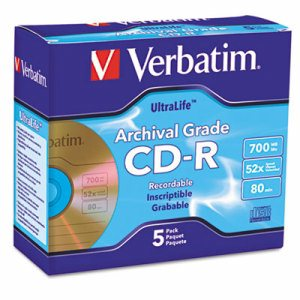 UltraLife Gold Archival Grade CD-R w/Branded Surface, 700MB 52X, 5/PK Jewel Case