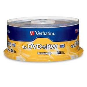 VERBATIM 94834 4.7GB 4X DVD+RWS, 30-CT SPINDLE