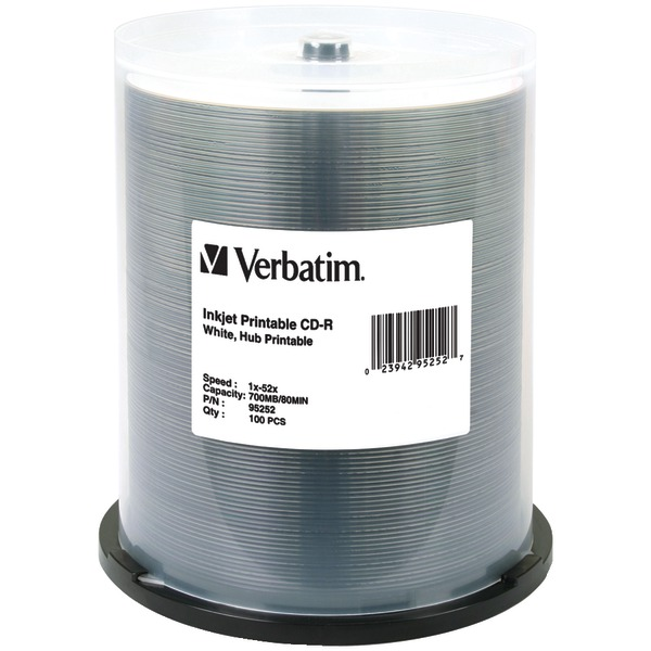 Verbatim 95252 Hub-Printable 700MB 80-Minute 52x CD-Rs, 100-ct Spindle