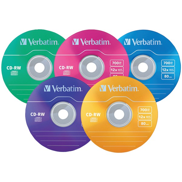 Verbatim 96685 700MB DataLifePlus CD-RWs with Color-Branded Surface, 20-ct Slim Case