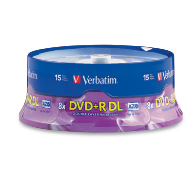 VERBATIM 95484 8.5GB DUAL-LAYER DVD+RS (15-CT SPINDLE)