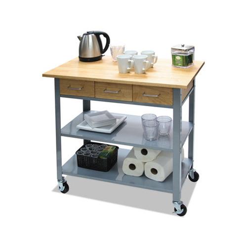 "Countertop Serving Cart, 35 1/2"" x 19 3/4"" x  34 1/4"", Silver/Brown"
