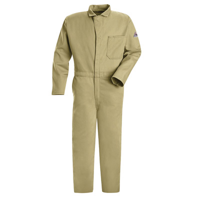 """Bulwark� 54"""" Regular Khaki 9 Ounce Cotton Flame Resistant Classic Coverall With Concealed 2-Way Front Zipper Closure And 2 patch"""