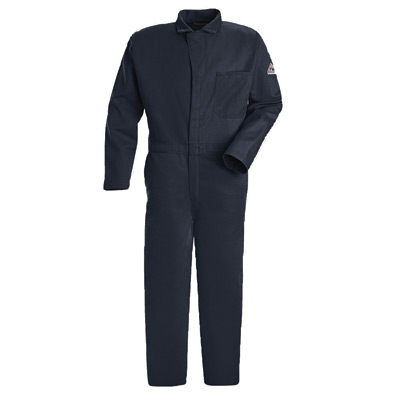 """Bulwark� 48"""" Regular Navy 9 Ounce Cotton Flame Resistant Classic Coverall With Concealed 2-Way Front Zipper Closure And 2 patch"""