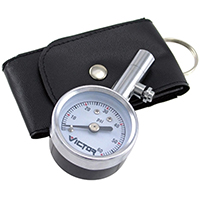 Victor 60023-8 Low Pressure Dial Tire Gauge With Bonus Leatherette Pouch, 5 - 60 psi