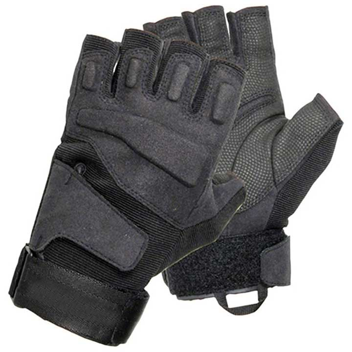 BLACKHAWK MEN'S BLACK SOLAG SPECIAL OPS 1/2 FINGER LIGHT ASSAULT GLOVE MED