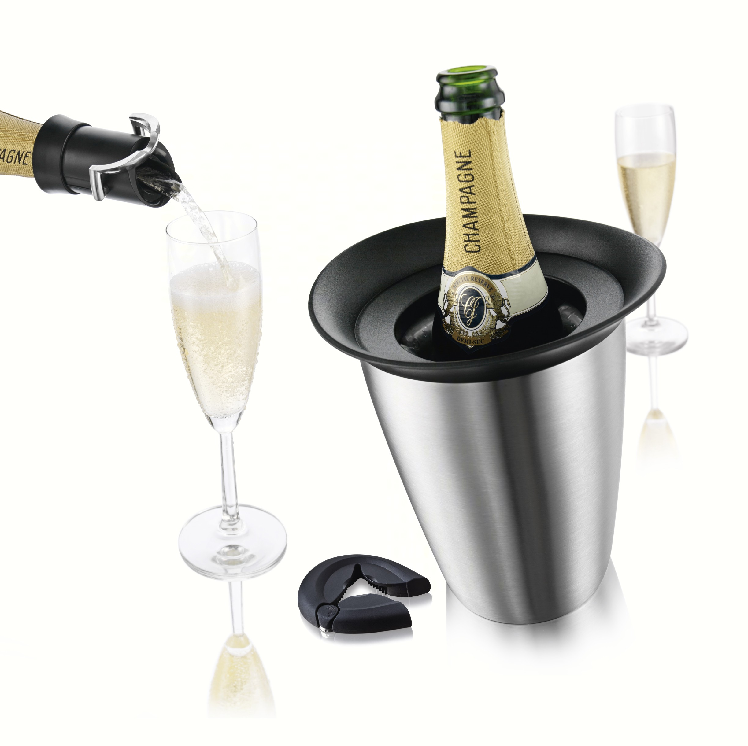 3 Piece Champagne Set (Active Champagne Cooler in Stainless Steel, Bottle Opener, Champagne Saver)