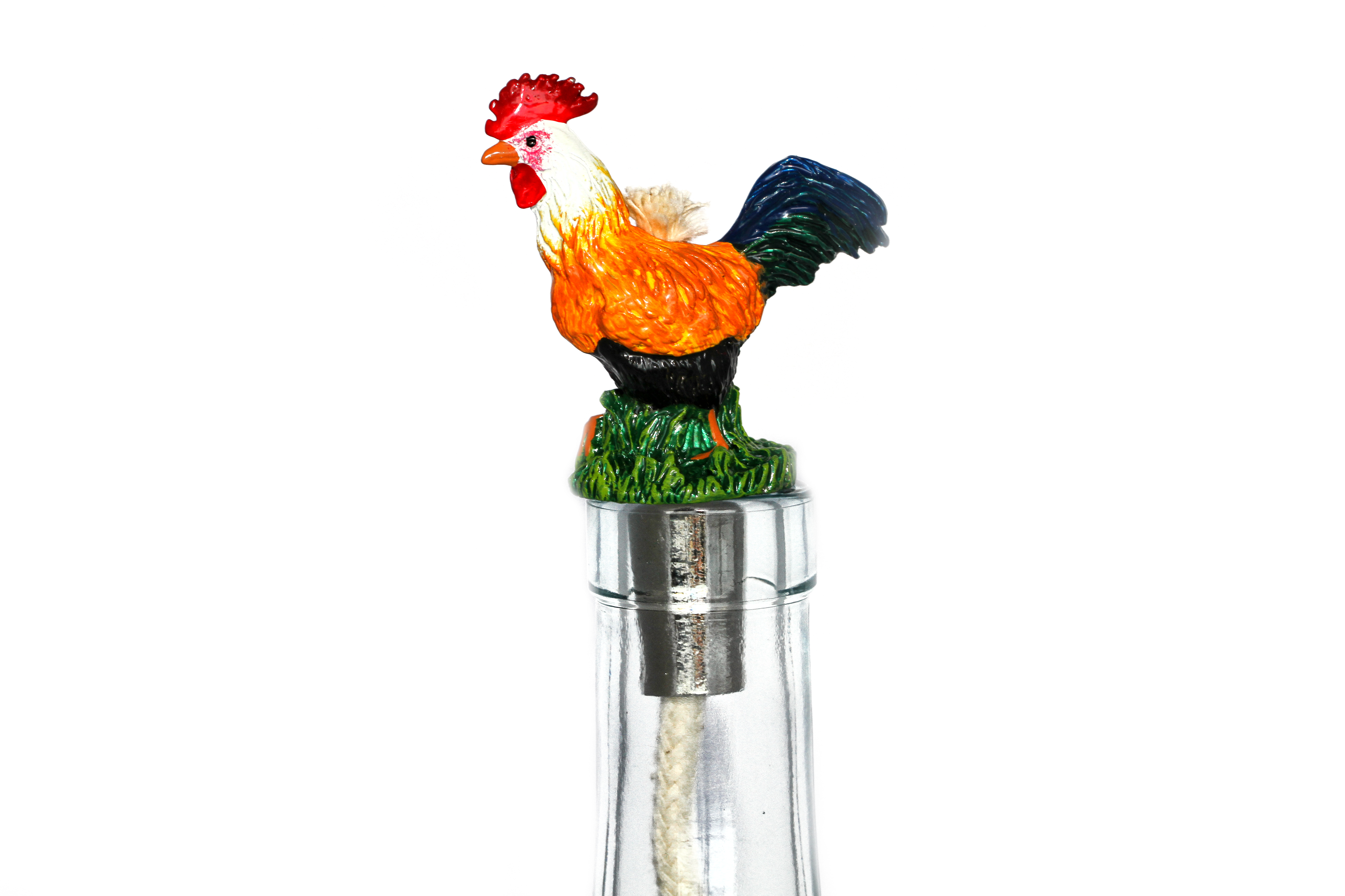 Rooster Pewter Winelight - Painted