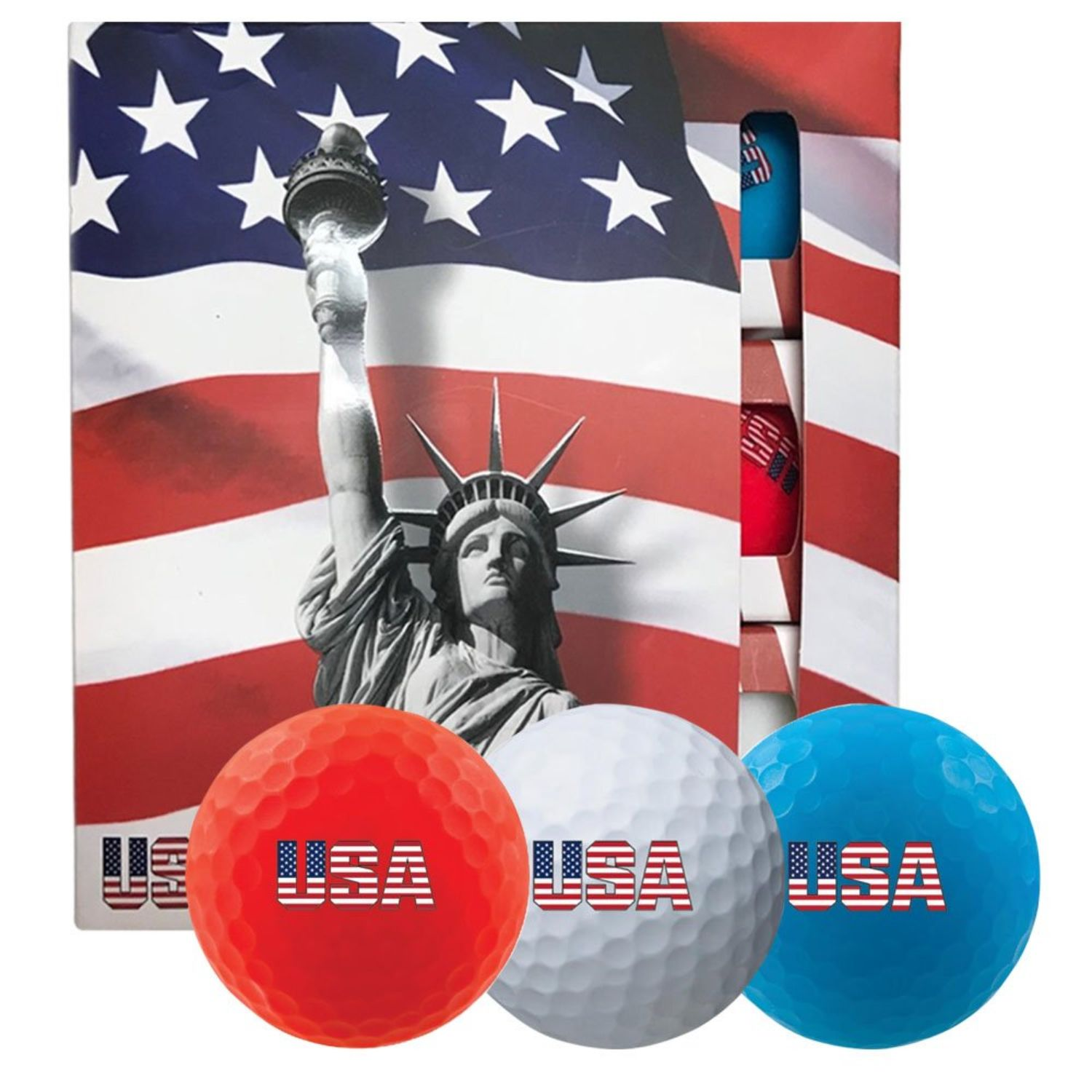 Volvik USA Golf Ball Pack - 3 Sleeves - Red White Blue