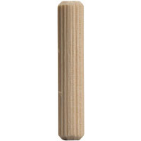 Waddell 878F DP-10 Fluted Dowel Pin, 1/2 in Dia X 2 in L, Hardwood