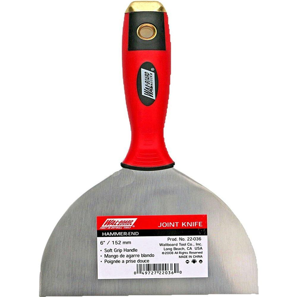 Wallboard 22-036 Putty Knife With Hammer End, 6 in W X 9-1/2 in L, High Carbon Steel, Soft Grip