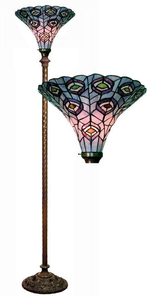 Tiffany-Style Peacock Torchiere Lamp