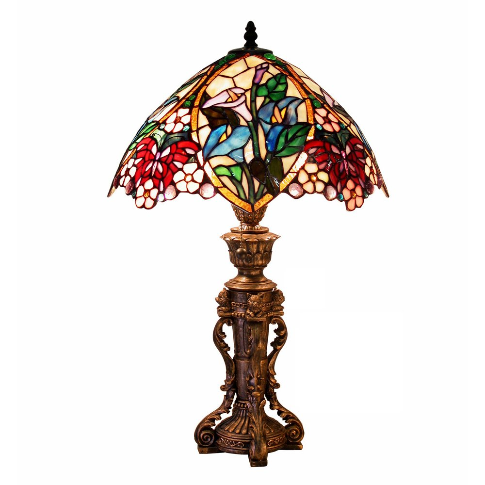 Famous Brand Style Floral Design Table Lamp