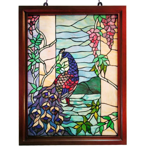 Famous Brand-Style Peacock Wood Framed Window Panel