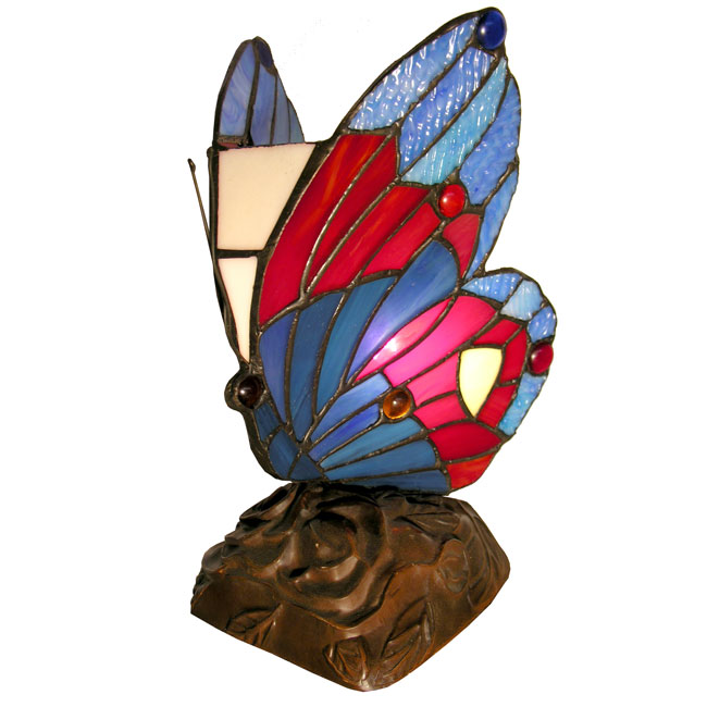 Famous Brand Style Blue Butterfly Accent Lamp