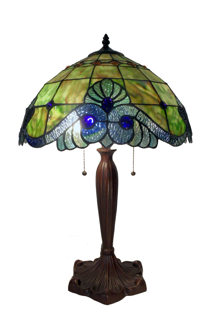Tiffany Style Green Geometric Symmetry Table Lamp