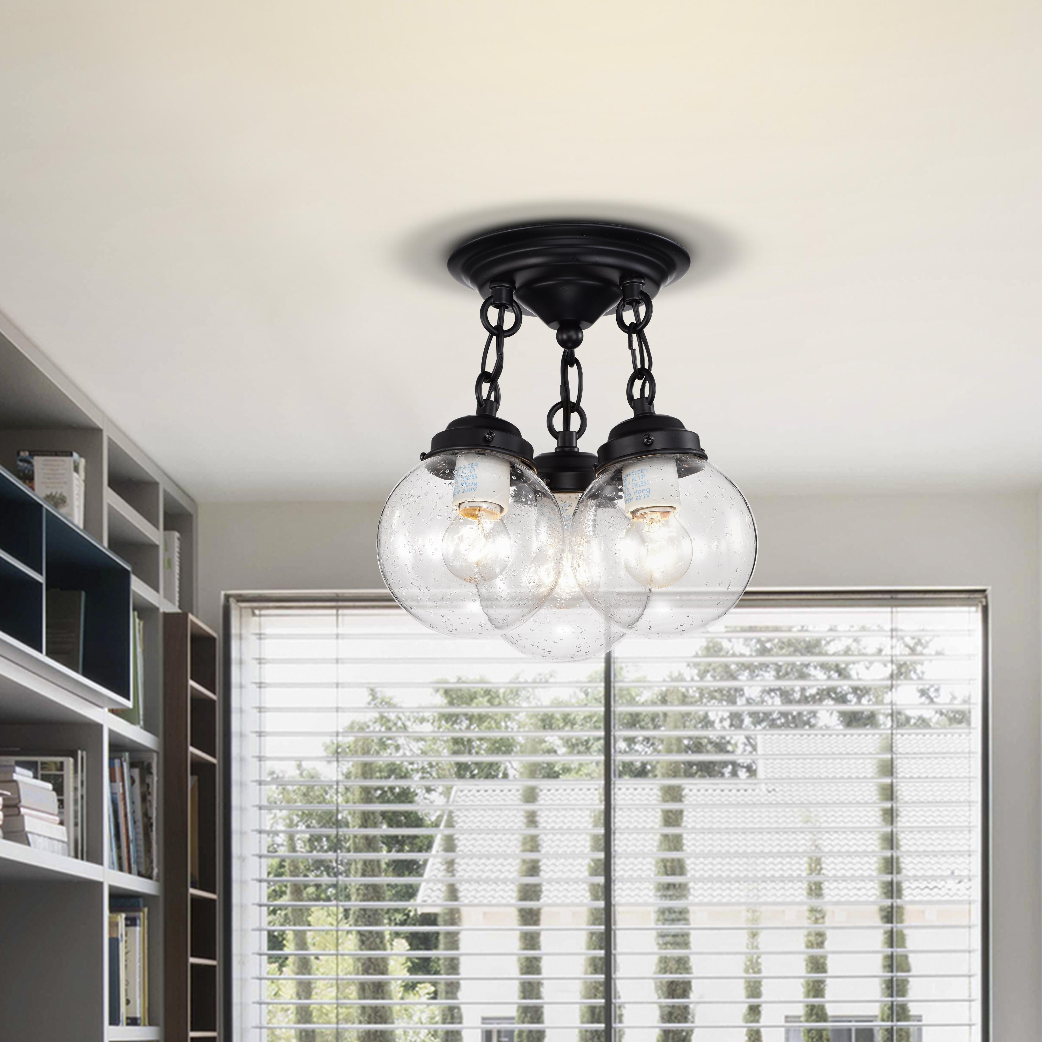 Abver Matte Black 3-Light Clear Glass Globe Semi-Flush Mount