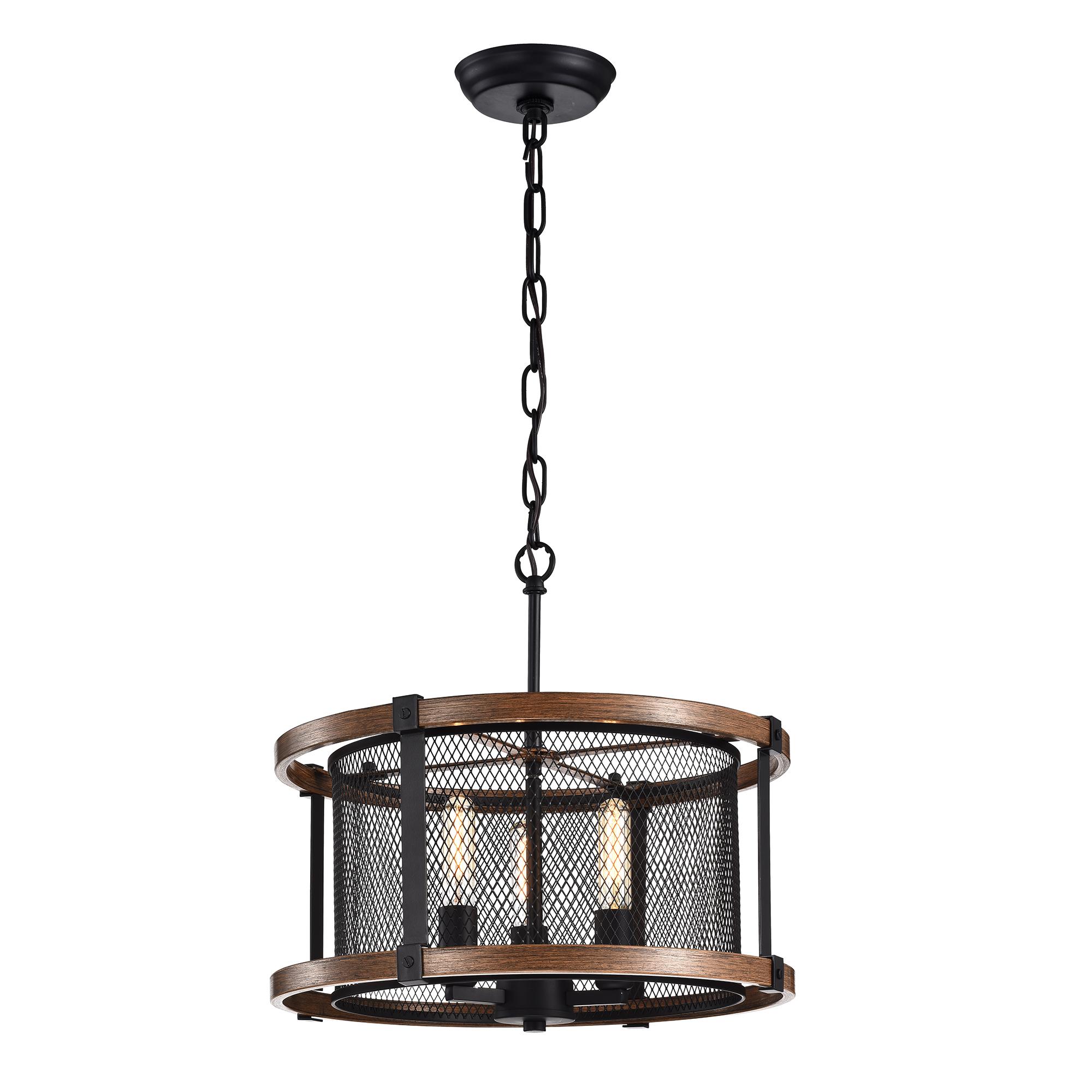 Airi Imitation Wood Grain/Black 3-light Chandelier