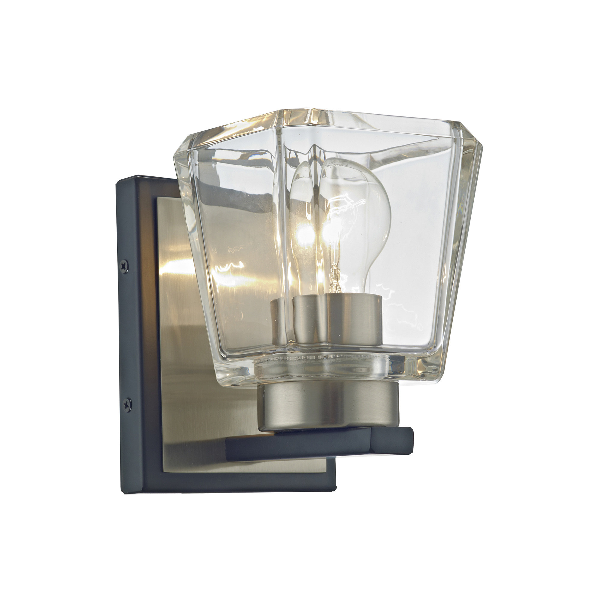 Aleah Matte Black+Brushed Nickel 1-Light Clear Crystal Shade Wall Sconce