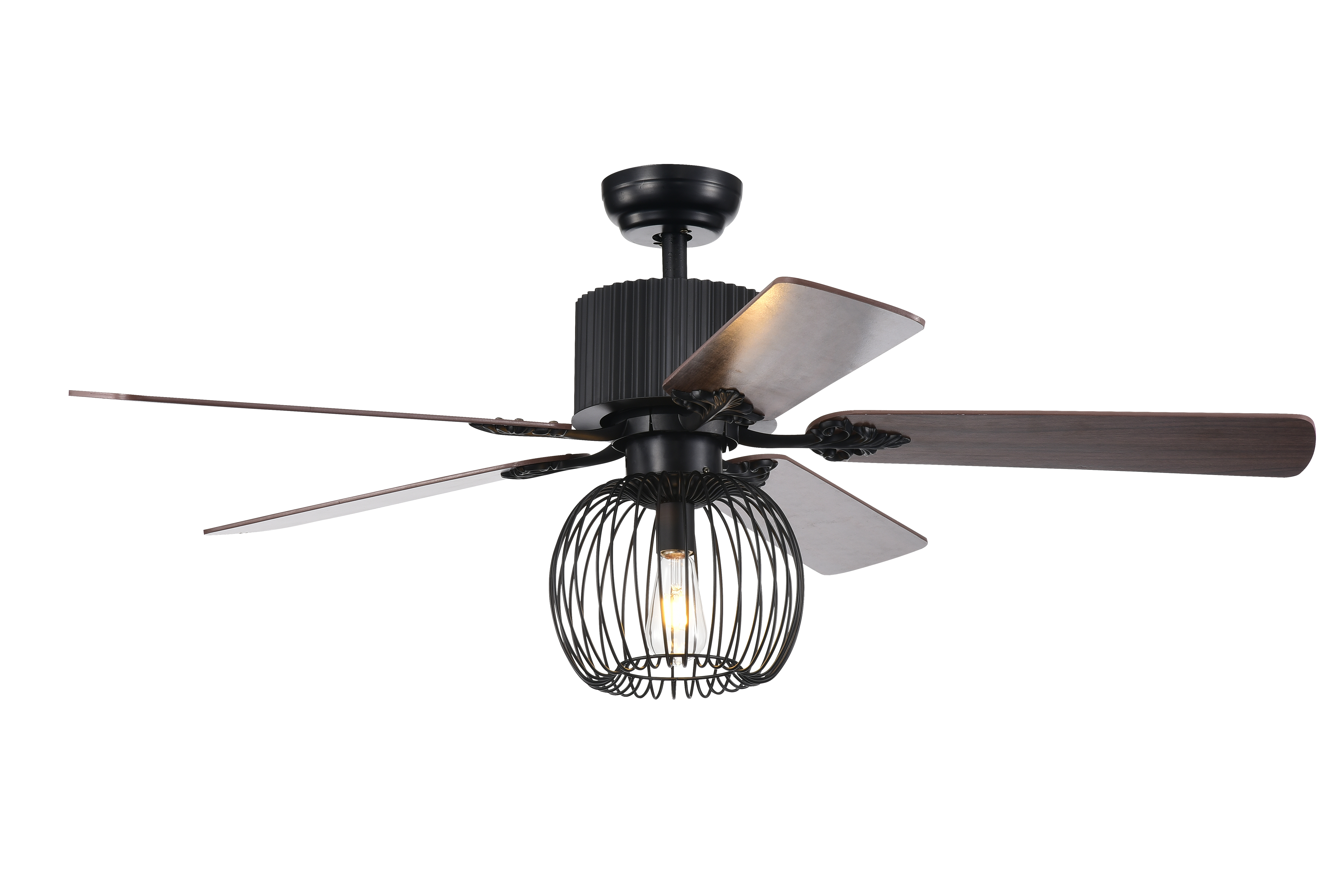 Aguano Black 52-inch Lighted Ceiling Fan (Remote Controlled & 2 Color Option Blades)
