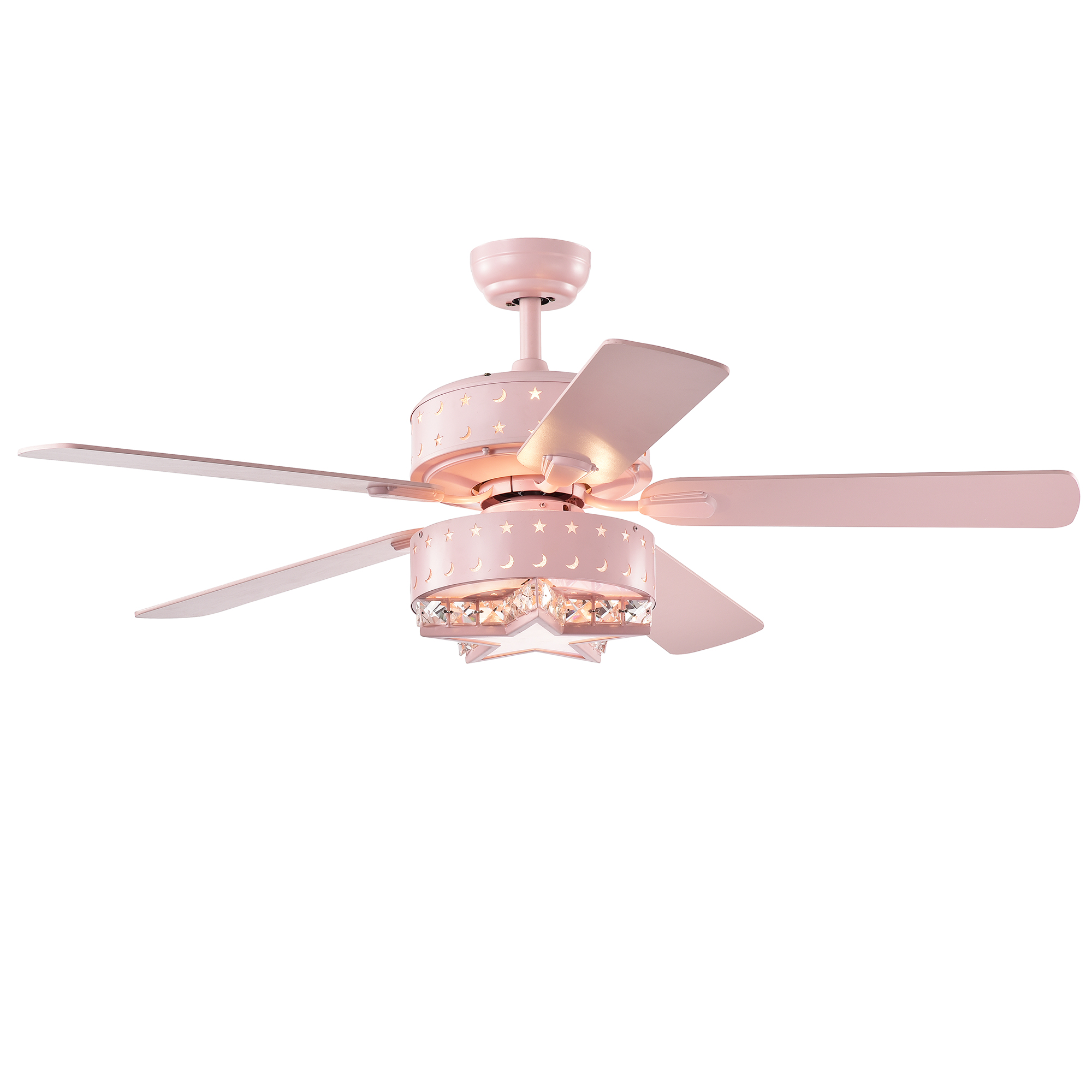 Funder 52-inch Star & Crescent Lighted Ceiling Fan Pink (includes Remote)