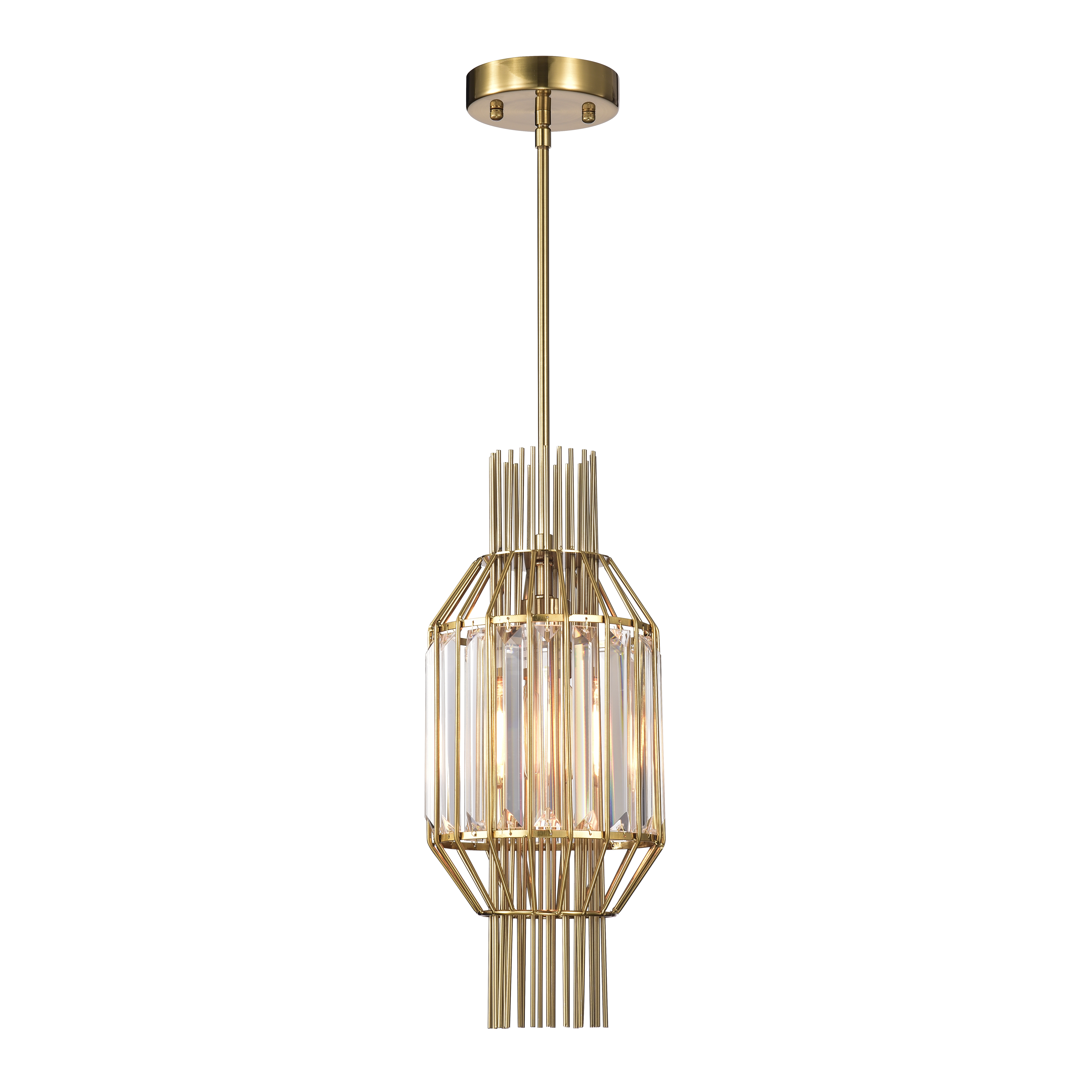 Aes 1-Light Polished Brass and Crystal Caged Pendant Lamp