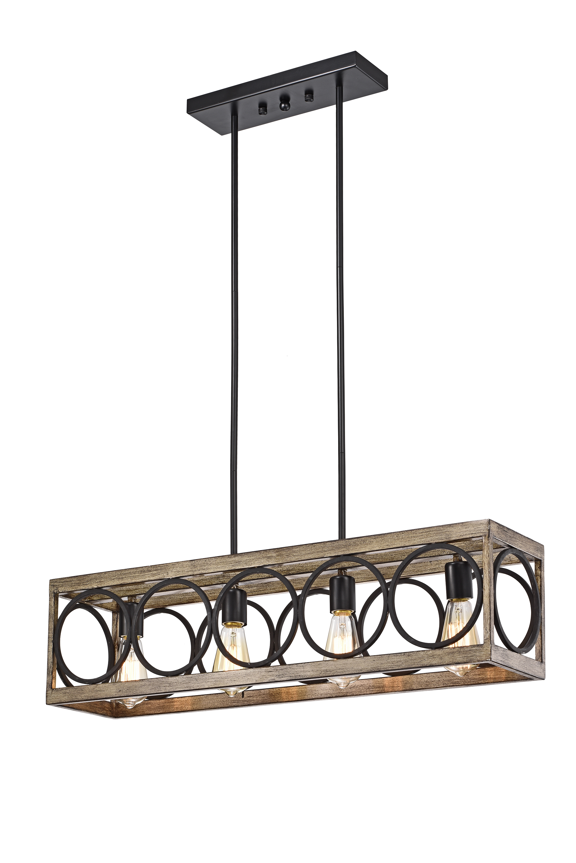 Spencer Matte Black 4-Light Linear Chandelier with Open Metal Hoops Shade