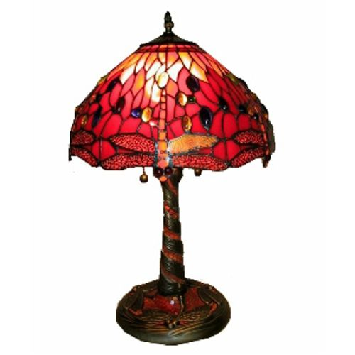 Famous Brand Style Red Dragonfly Lamp w/ Mosaic Base