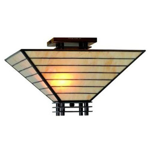 Tiffany-Style Mission Semi-Flush Ceiling Fixture, White