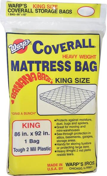 Warp Banana Bags Heavyweight Mattress Bag, 92 in L X 86 in W 2 mil T, Plastic, Yellow