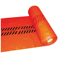 Wrap's RSF Disposable Heavy Duty Safety Flag Roll, 18 in W x 18 in L x 2 mm T, Red, Plastic