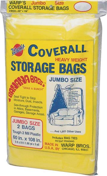 Coverall CB-60 Jumbo Storage Bag with Twist Ties, 108 in L X 60 in W, Plastic