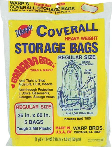 Wrap Brothers CB-36 Heavyweight Regular Storage Bag, 60 in L x 36 in W 2 mil T, Plastic, Yellow