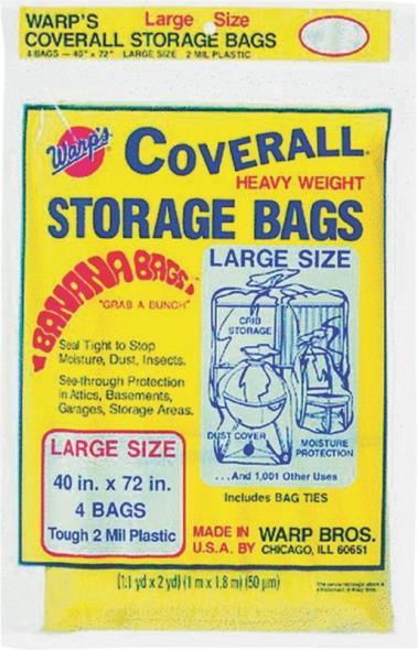 Coverall CB-40 Large Storage Bag with Twist Ties, 72 in L X 40 in W, Plastic
