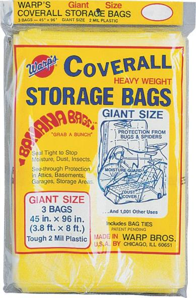 Coverall CB-45 Giant Storage Bag with Twist Ties, 96 in L X 45 in W, Plastic