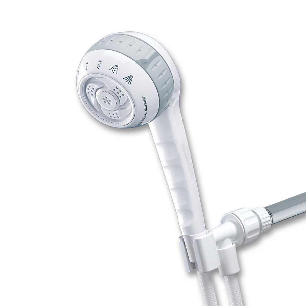 Water Pik SM-651 Hand Shower Massager, 1/2 in, 2.5 gpm, 3-1/4 in Face Dia, 6 Spray Functions, Vinyl Hose, White