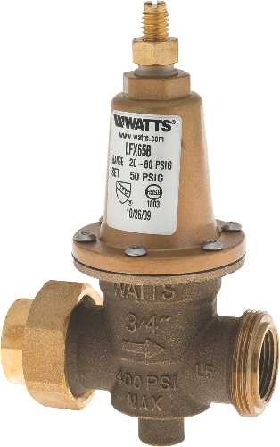 WATTS CARTRIDGE STYLE WATER PRESSURE REDUCING VALVE WITH BYPASS AND NPT UNION INLET X FNPT OUTLET, 3/4 IN, LEAD FREE