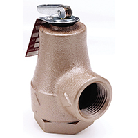 Watts 374A Boiler Pressure Relief Valve, 3/4 in, FIP, 30 - 150 psi, Iron and Forged Brass Inlet Body, 180 deg F
