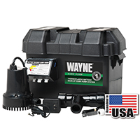 Wayne Pumps ESP15 Fully Submersible Sump Pump, 1750 gph, 1/4 hp, 12 V, Thermoplastic, Steel 1-1/2 in NPT Outlet