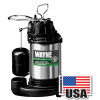 Wayne Pumps CDU980E Submersible Sump Pump, 4600 gph, 3/4 hp, 120 V, Cast Iron, Steel 1-1/2 in NPT Outlet, 10 A